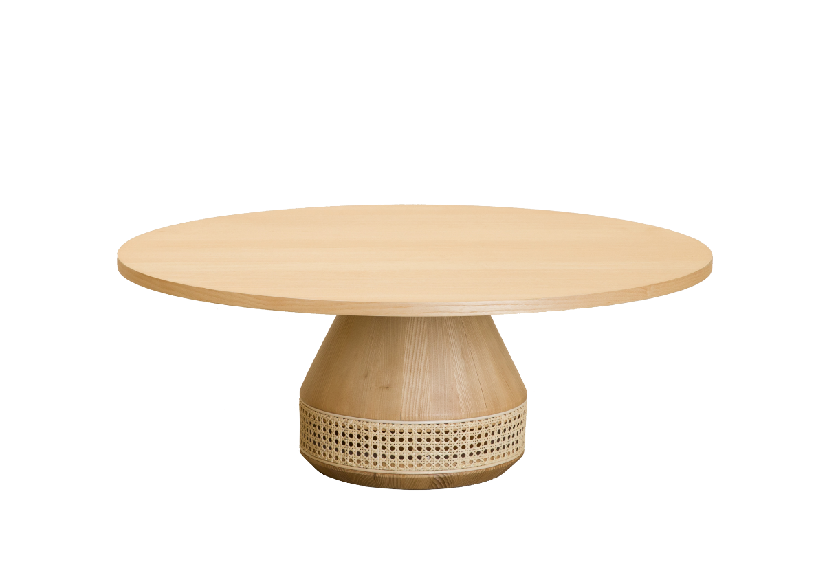 CANE round tea table, natural ash