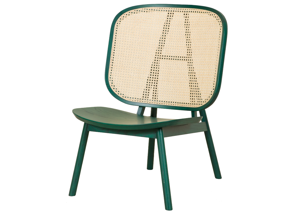 CANE lounge chair, tropical green
