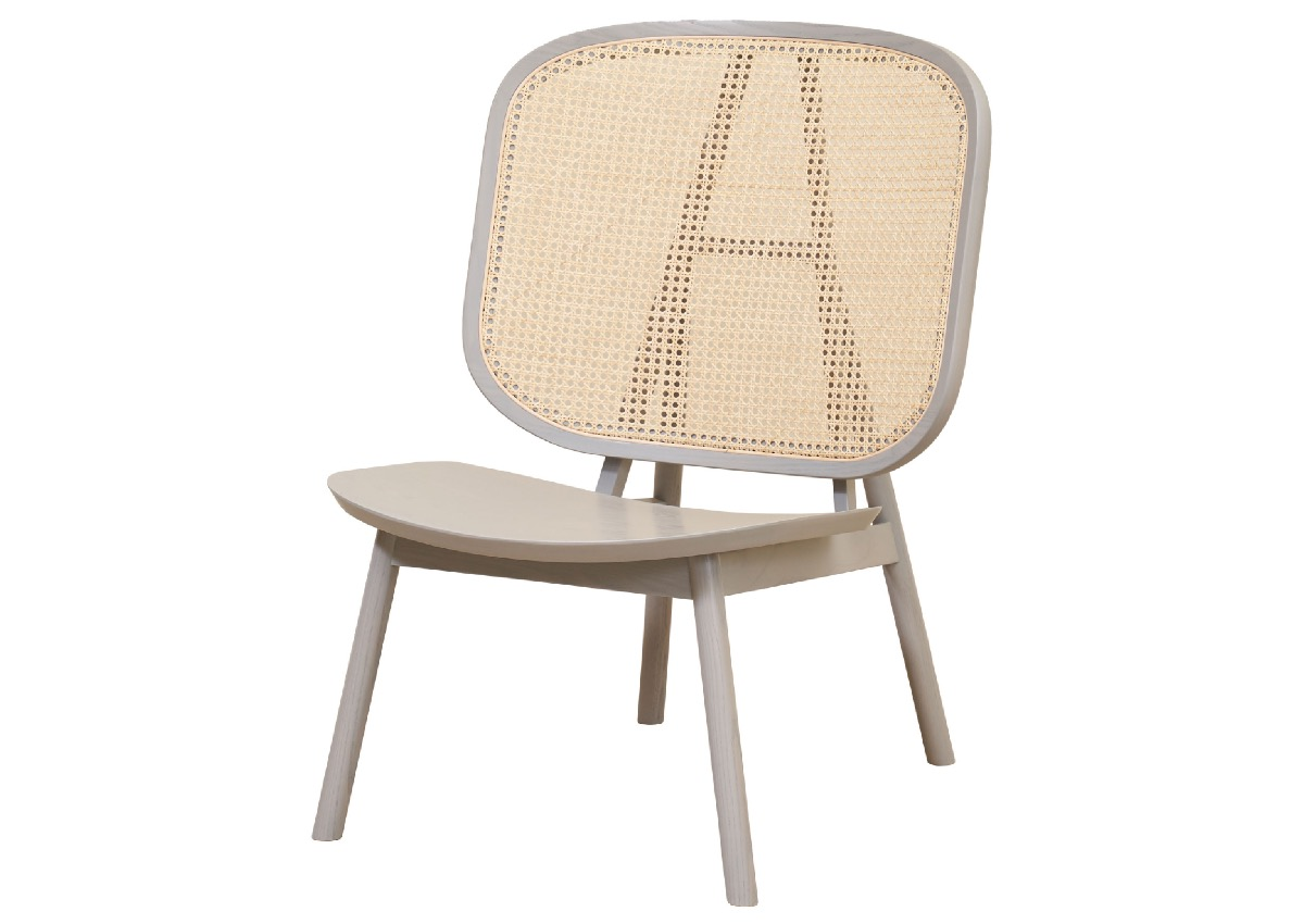 CANE lounge chair, light grey