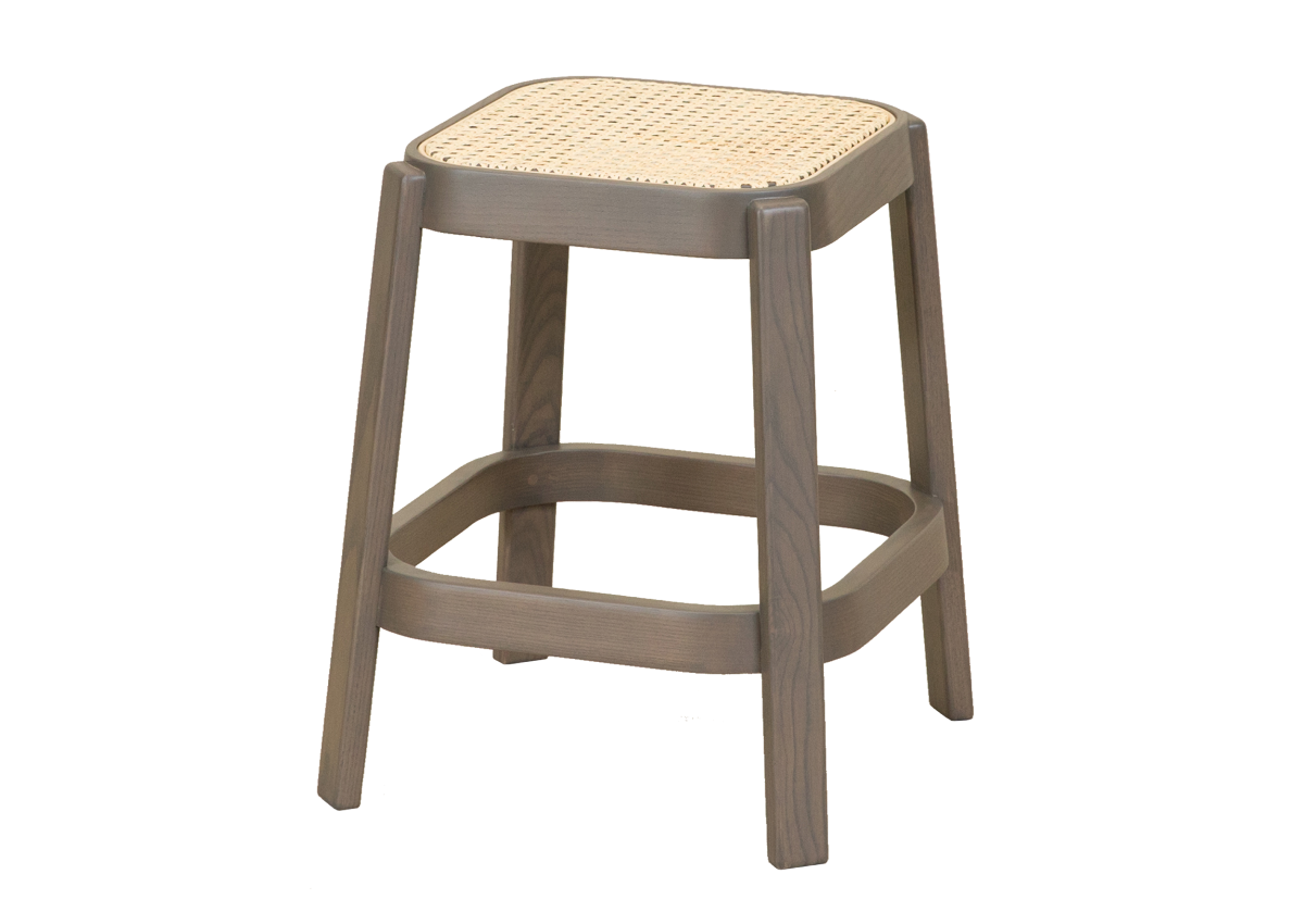 CANE low stool, dark grey