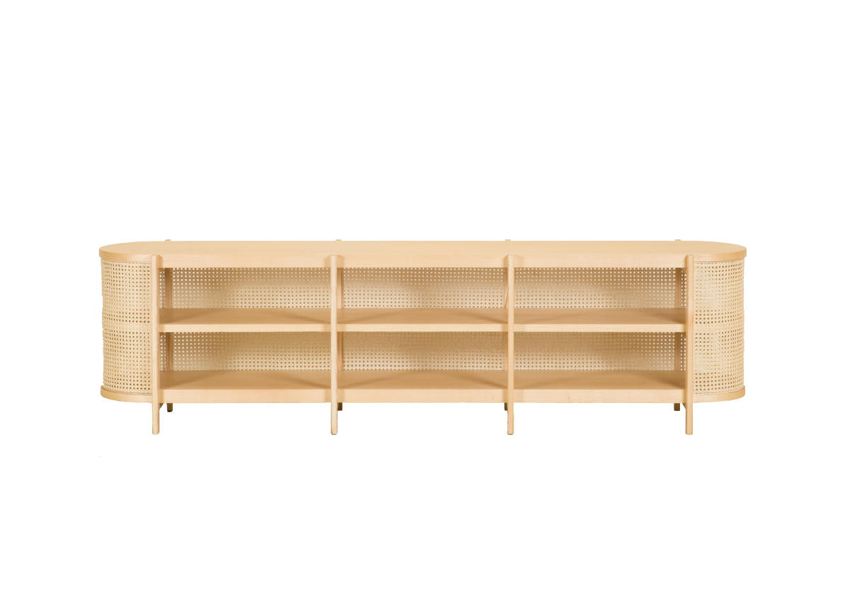 CANE TV cabinet, natural