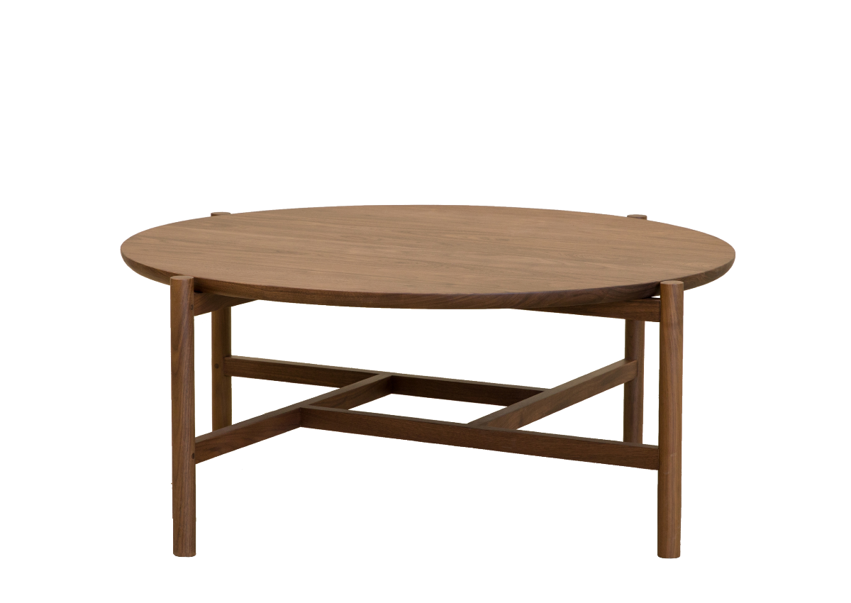 Round tea table, natural walnut