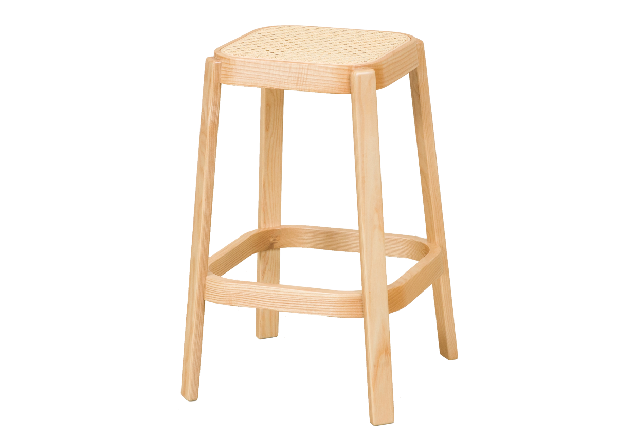CANE high stool, natural ash