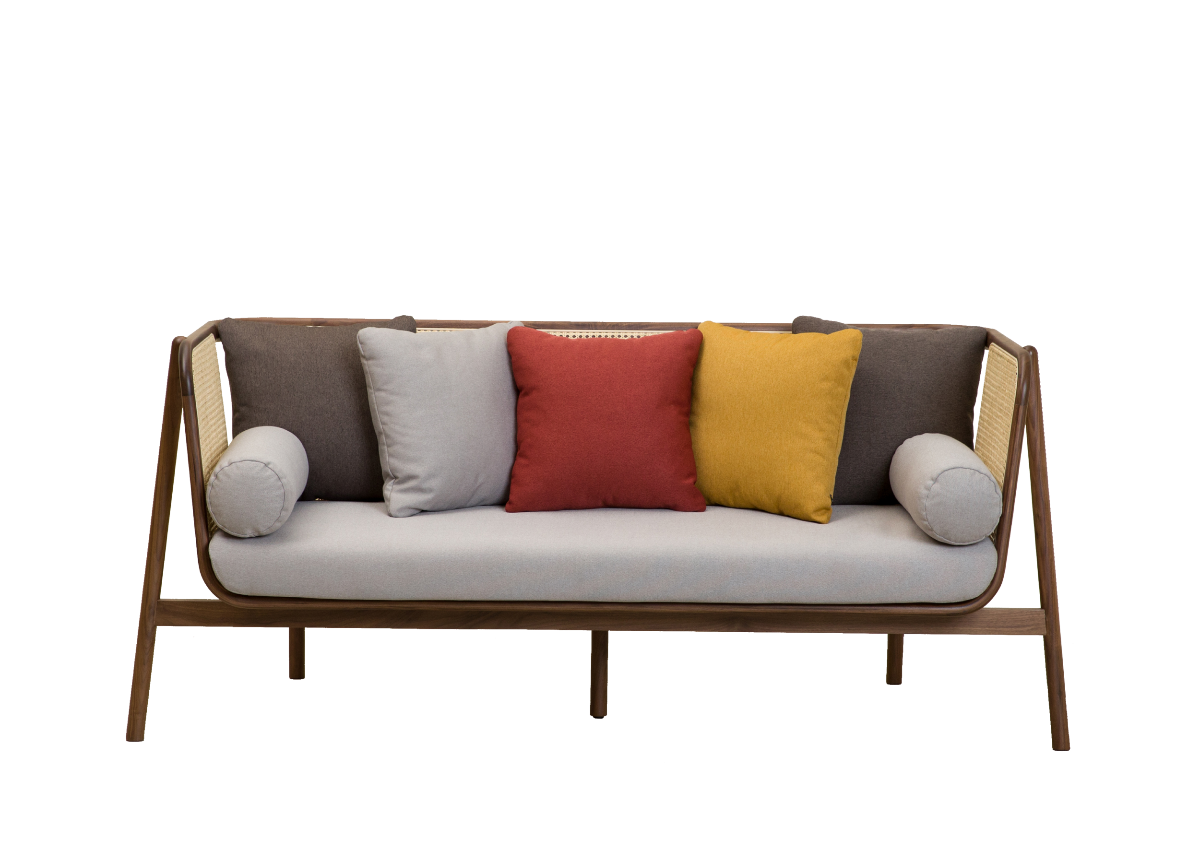 [매장문의] CANE SOFA 2P, natural walnut
