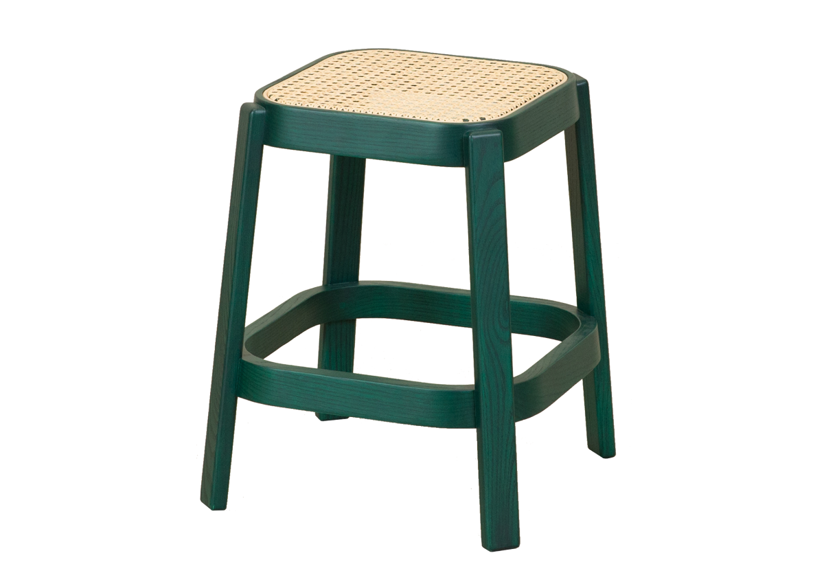 CANE low stool, tropical green